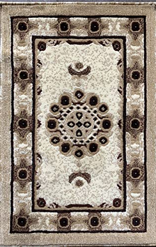 Americana Traditional Door Mat Persian Oriental Area Rug Ivory Beige Brown 121 2 Feet X 3 Feet