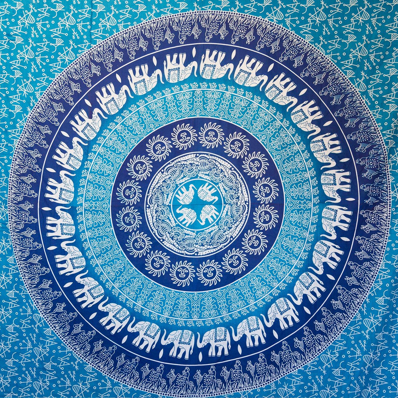 amazon com hippie elephant mandala tapestry wall hanging blue amazon com hippie elephant mandala tapestry wall hanging blue bohemian art or indian ombre hippy bedding bedspread set for bedroom college dorm room