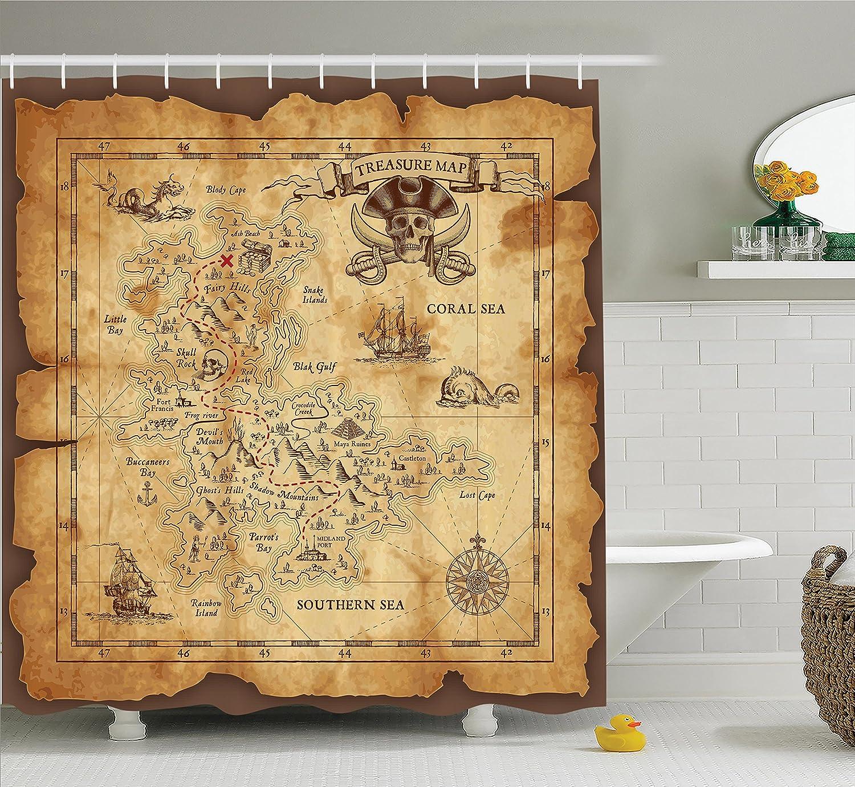 Amazon.com: Ambesonne Island Map Decor Shower Curtain Set, Super ...