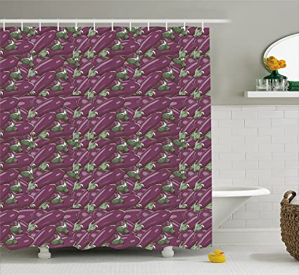 Ambesonne Eggplant Shower Curtain Retro Inspired Stacks Of Delicious Eggplants Product Nature Ingredient Cusine