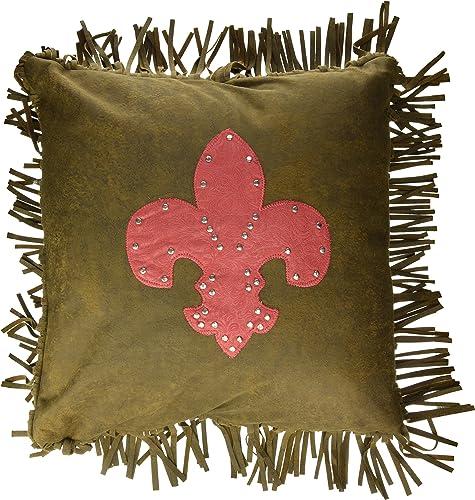 HiEnd Accents Cheyenne Fleur De Lis Accent Pillow, Red