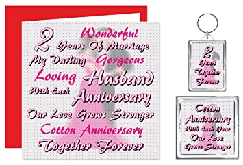 My Husband 2nd Wedding Anniversary Gift Set Card Keyring Fridge