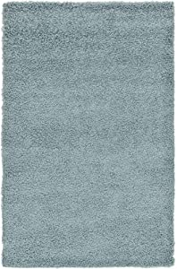Unique Loom Solo Solid Shag Collection Modern Plush Light Slate Blue Area Rug (5' 0 x 8' 0)