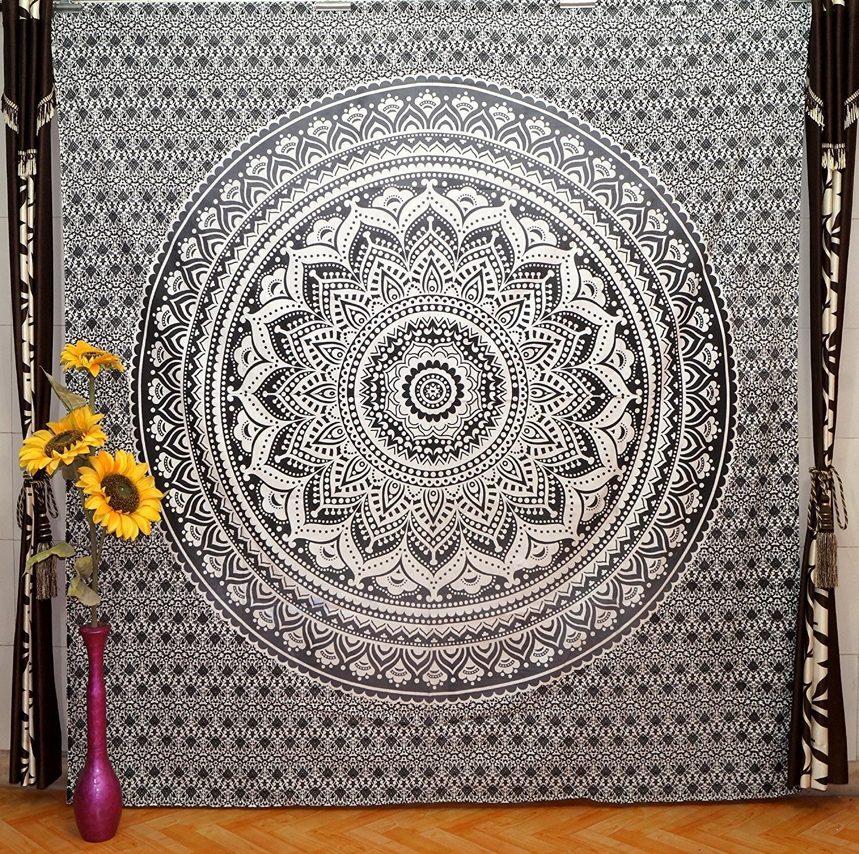 Indian Exlcusive Ombre Mandala BohoベッドスプレッドEthnic寮装飾タペストリー ブラック B06XD22DLM ブラック