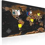 murando – XXL– 120x80cm – Mappa del mondo per il fissaggio puntine & Quadro su tela – Pannello di fibre – Quadro decorativo su tela e pratica lavagna per le note – Mappa del mondo continente viaggio geografia k-A-0206-v-a
