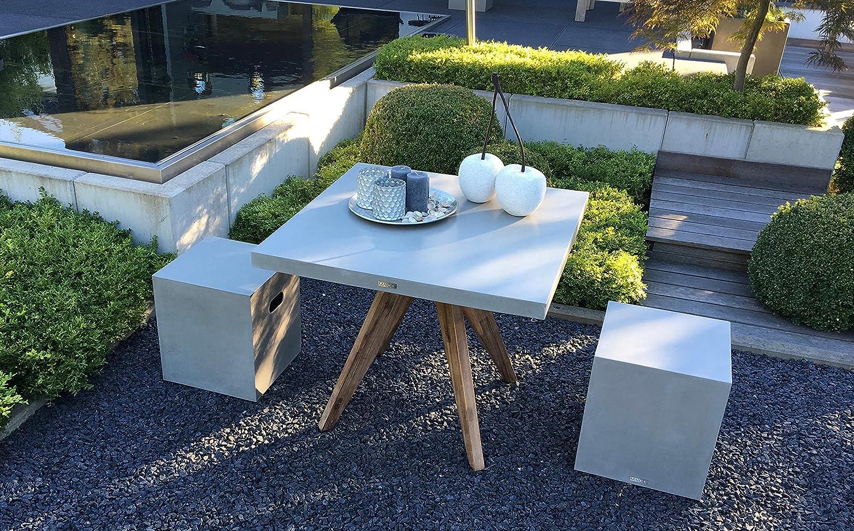 Matodi Betontisch 90x90 cm Fiberstone Gartentisch Betonmöbel ...