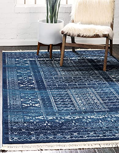 Unique Loom District Collection Abstract Over-Dyed Vintage Border Blue Area Rug 4' 0 x 6' 0