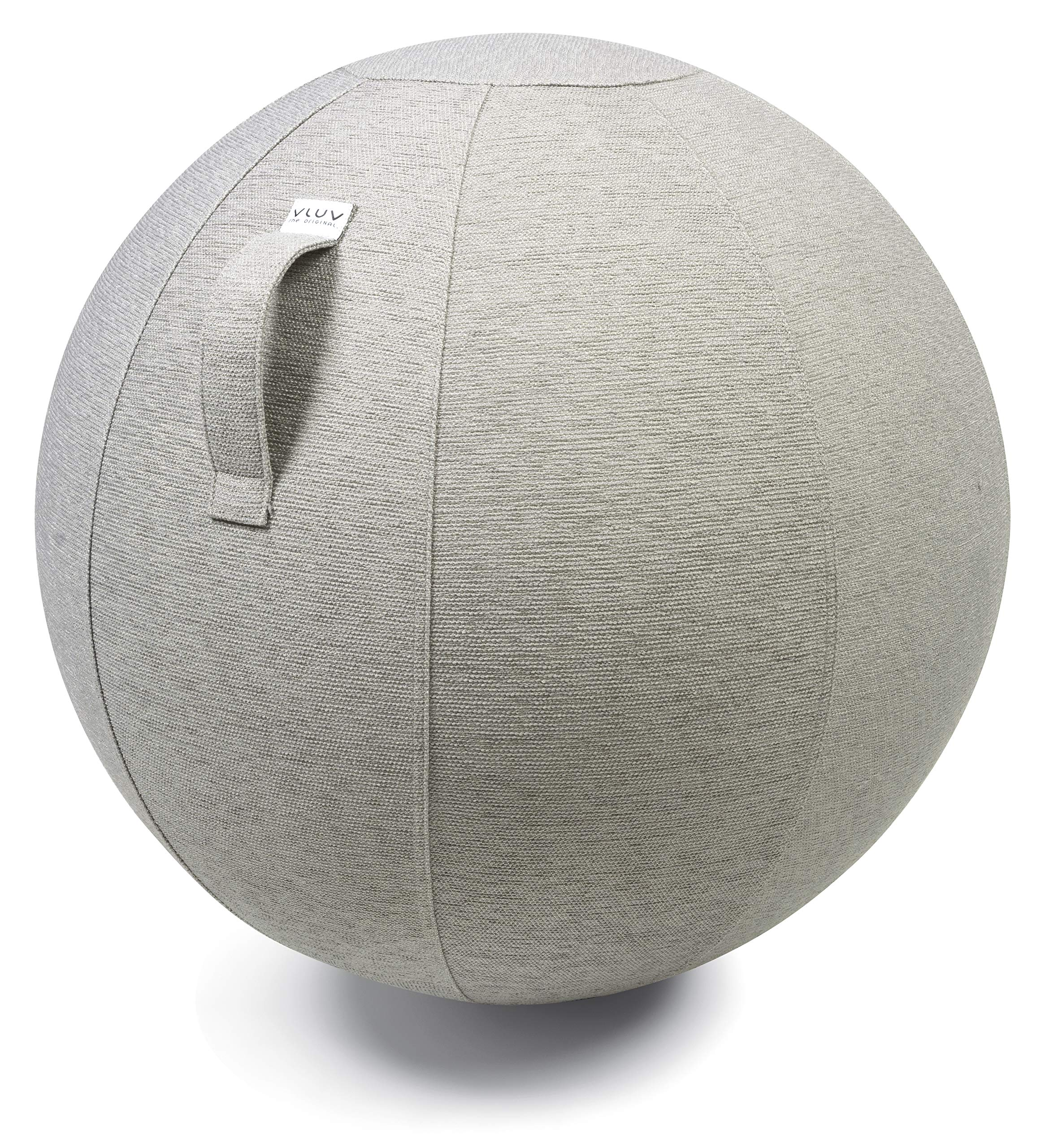 VLUV STOV Premium Quality Self-Standing Sitting Ball with Handle - Home or Office Chair and Exercise Ball for Yoga, Back Stretching, or Gym- Upholstery Fabric Stability Ball (Concrete, 29.5'')