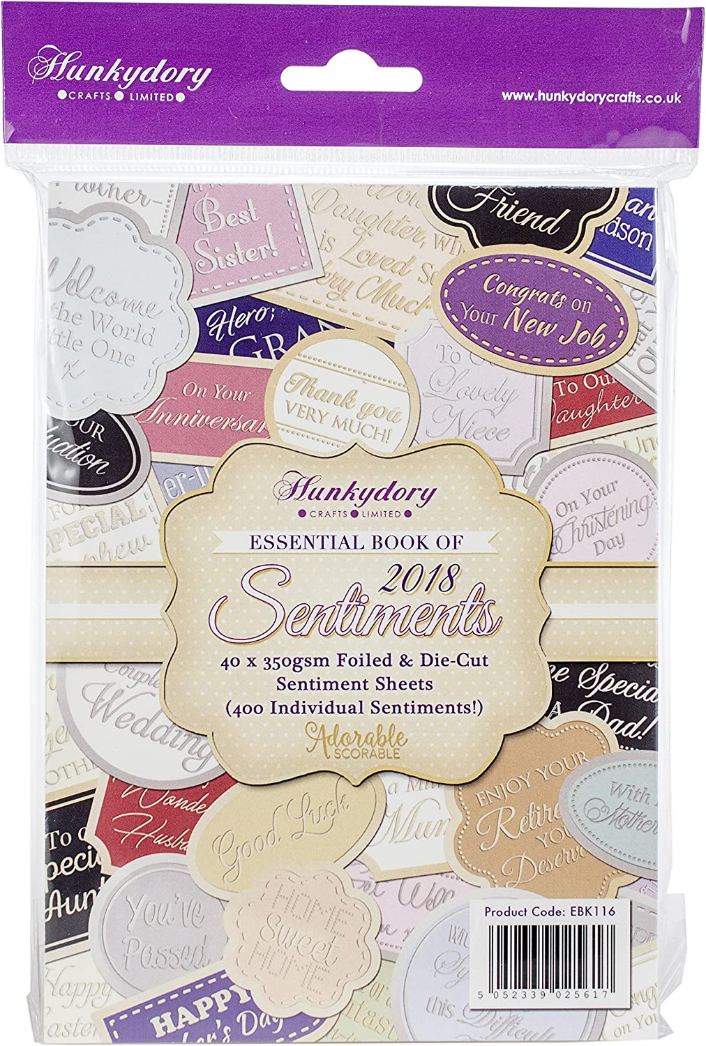 Hunkydory Essential Book of 2019 Sentiments EBK120