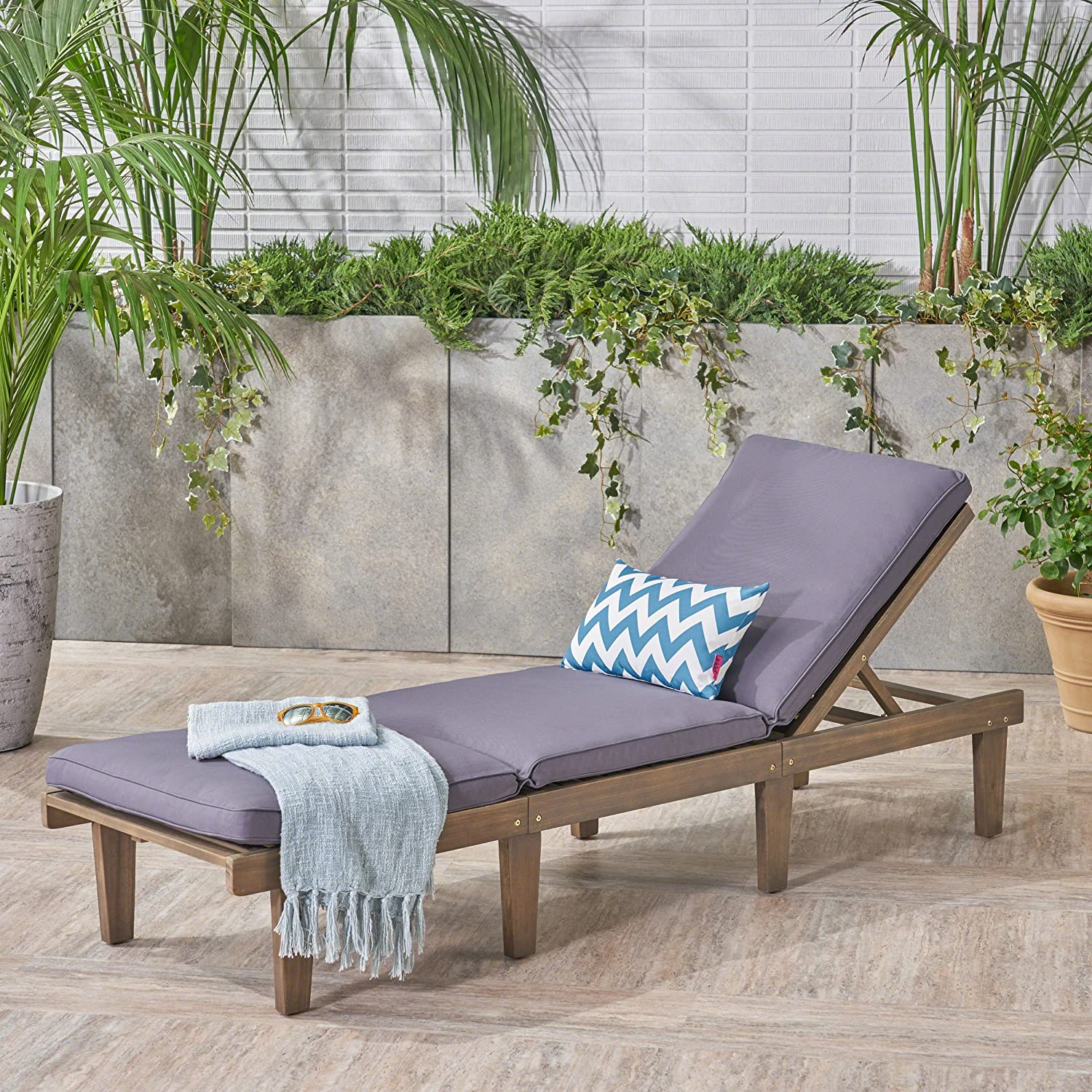 Great Deal Furniture 304376 Alisa Outdoor Acacia Wood Chaise Lounge with Cushion, Dark Grey, Finish