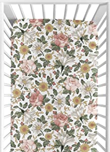 Sweet Jojo Designs Vintage Floral Boho Girl Fitted Crib Sheet Baby or Toddler Bed Nursery - Blush Pink, Yellow, Green and White Shabby Chic Rose Flower Farmhouse