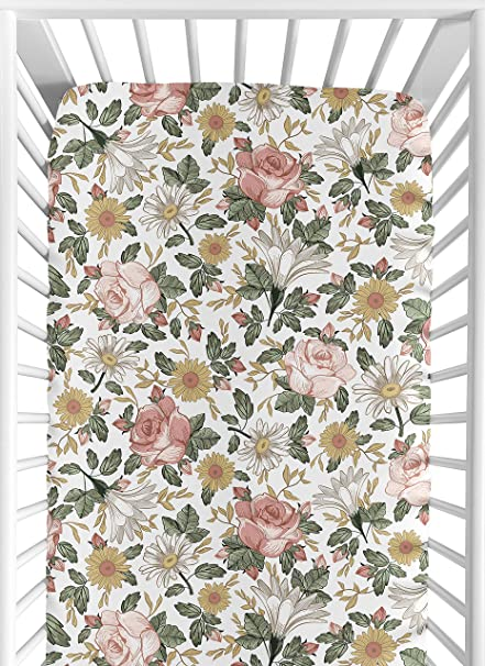 Set//2 Crib Sheets Pink Green Floral Baby Sheet Flower Company Kids Nursery bed