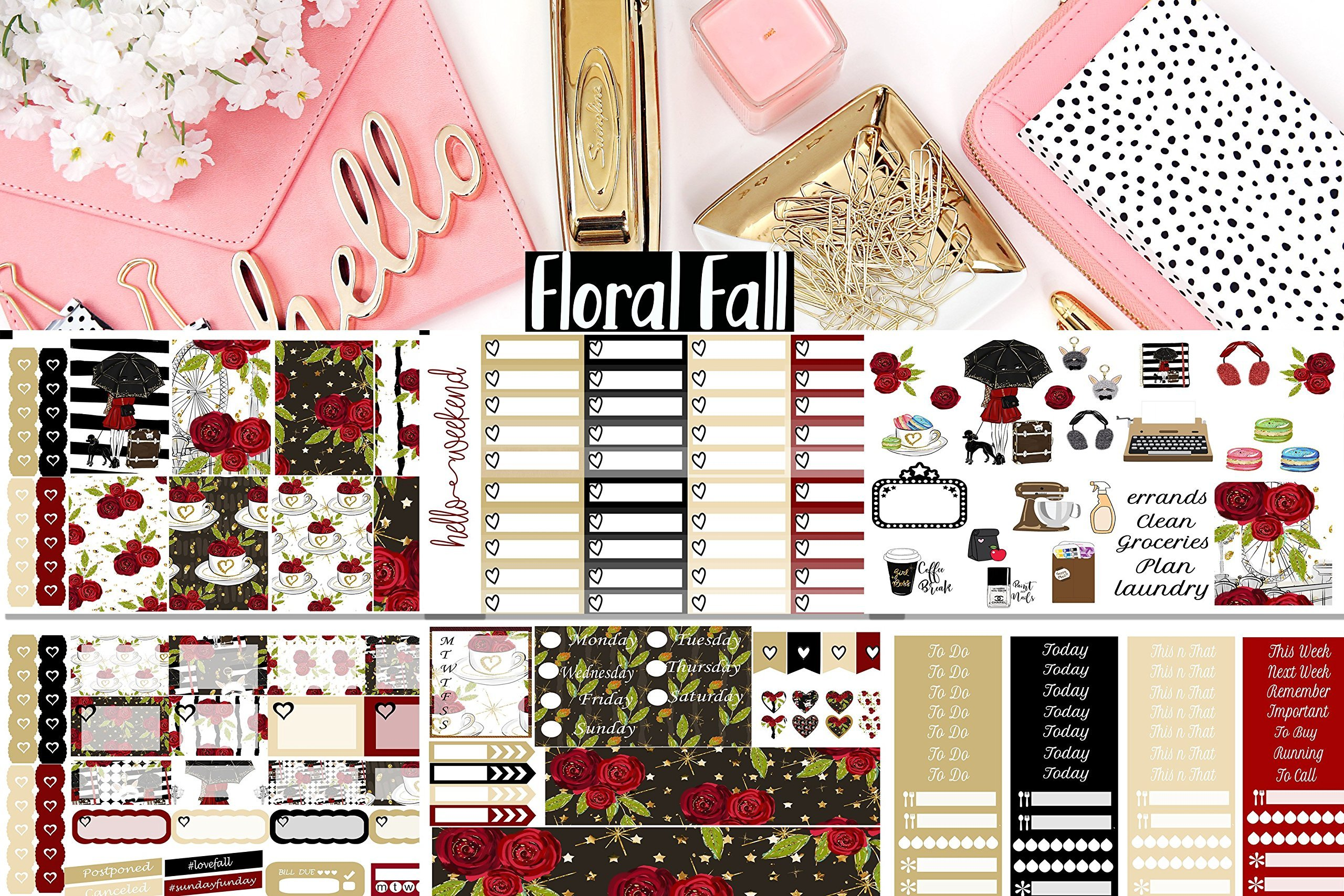 Floral Fall Planner Weekly Sticker Kit. 6 sheets, choose your planner size. On matte sticker paper.