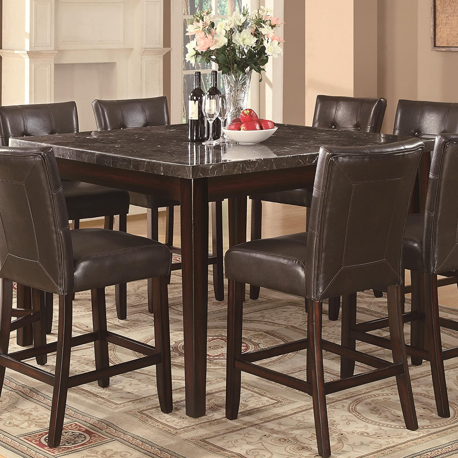 amazoncom coaster home furnishings casual counter height table cappuccino table u0026 chair sets