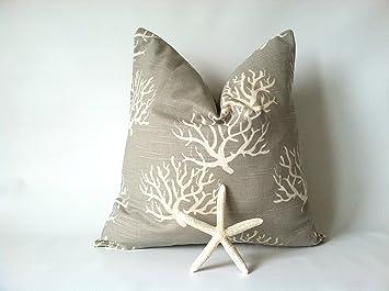 Amazon.com: Estilos de almohada lona de algodón taupe Mar ...