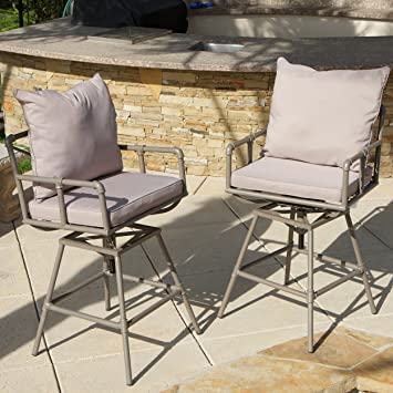 Set Of 2 Tallahassee Modern Industrial Pipe Design Outdoor Barstools W/  Adjustable Seat Height