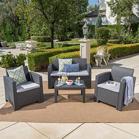 Christopher Knight Home Daytona Outdoor Faux Wicker Rattan Style Chat Set with Water Resistant Cushions, 4-Pcs Set, Charcoal / Light Grey