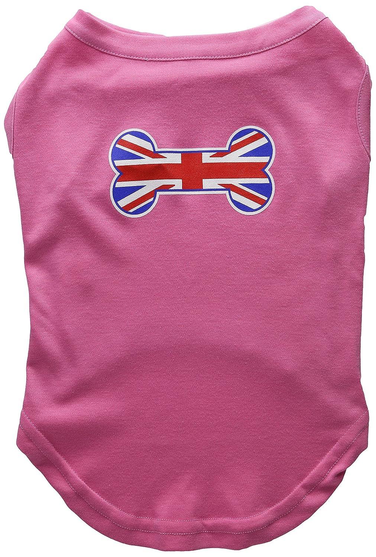 Dog   Cat   Pet Charms Bone Shaped United Kingdom (Union Jack) Flag Screen Print Shirts Bright Pink XL (16)