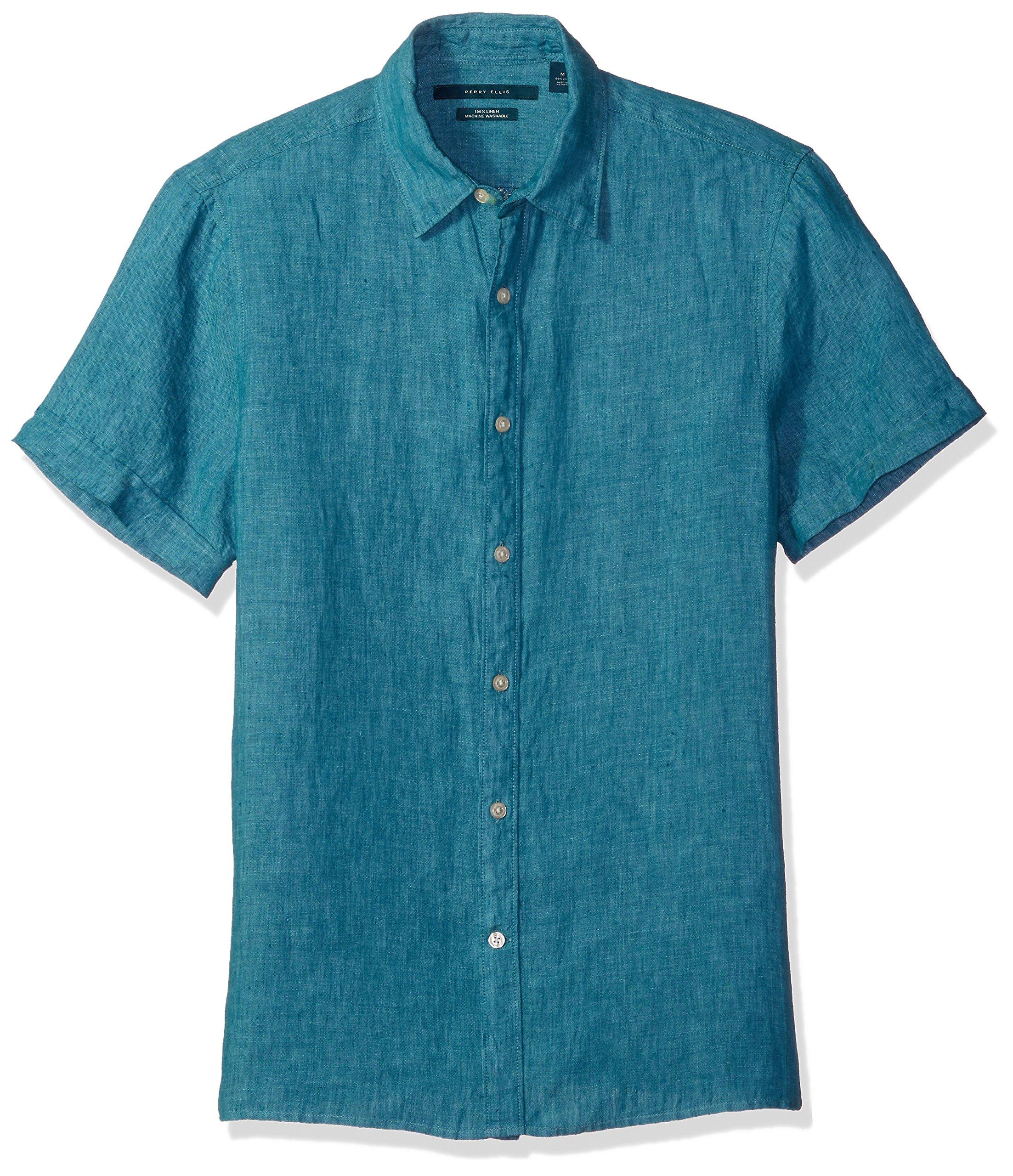 Perry Ellis Men's Short Sleeve Solid Linen Shirt, Blue Coral-4chw7061, X-Large