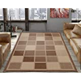 """Silk Road Concepts Collection Contemporary Rugs, 5'3"""" x 7'3"""", Brown Boxes"""