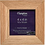 464844OAK New England High Quality Solid Oak Wood 4x4in (10x10cm) Square Photo Frame Mortice Corner Joints Table Top or Wall Hang