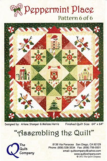 Amazon Com Peppermint Place Christmas Quilt Pattern Accessory Pack By The Quilt Company 64 X 64 Pp100