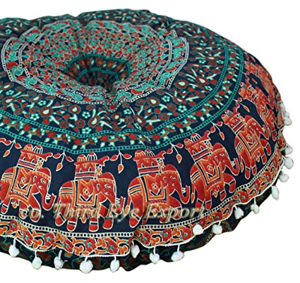 Third Eye Export 32 In Mandala Barmeri Large Round Floor Pillow Cover Cushion Meditation Seating Ottoman Throw Cover Hippie Decorative Zipped