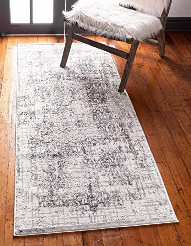 Unique Loom Aberdeen Collection Traditional Textured Vintage Gray Runner Rug 2 7 x 8 2
