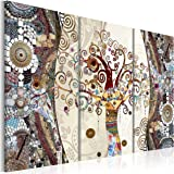 Cuadro en Lienzo 120x80 cm - 3 tres colores a elegir - 3 partes - Impresion en calidad fotografica - Cuadro en lienzo tejido-no tejido - Gustav Klimt Baum Mosaico l-C-0002-b-f 120x80 cm B&D XXL