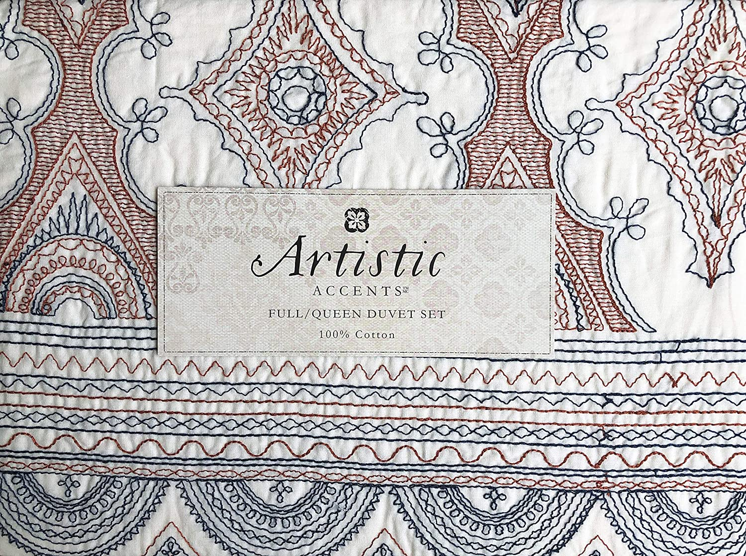 Artistic Accents Duvet Comforter Cover Set Home Bedding Fifer Texture Teracotta Full//Queen Size Luxury 3 Piece Embroidered Red Blue Thread Intricate Tapestry Boho Medallion Pattern on Cream