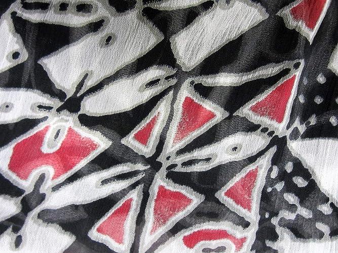 Echarpe en mousseline de polyester noire rouge et blanche  Amazon.fr   Handmade eb117e45b07
