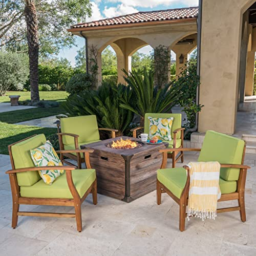 Muriel Outdoor 4 Seater Teak Finished Acacia Wood Club Chair