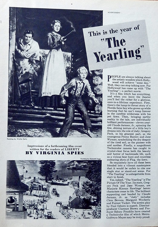 Amazon com : The Yearling Original movie 40's Print ad  B&W