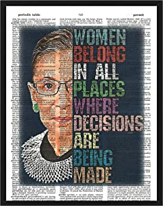 Ruth Bader Ginsburg Inspirational Wall Decor Ruth Bader Ginsburg Inspirational Dictionary Art Print 8 x 10