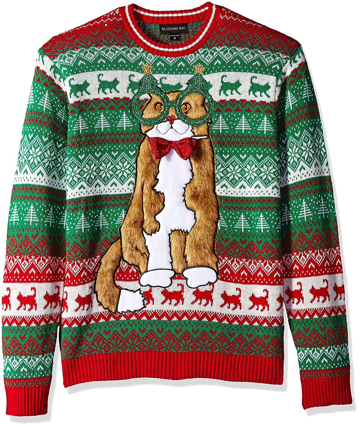 Blizzard Bay Mens Decked Out Kitty Ugly Christmas Sweater