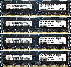 A-Tech Hynix 32GB Kit 4X 8GB PC3-10600 1.35V for Dell Precision Workstation Snpp9rn2c/8g A2626072 A2626093 A2862069 A2862074 A3721482 T5600 T7500 T7600 T5500 T5600 T7500 T7600 T5500 Memory RAM