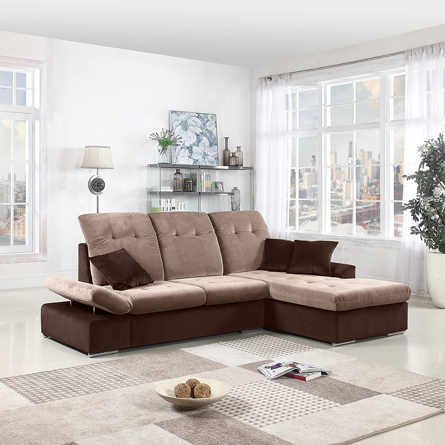 Classic Large Brush Microfiber L-Shape Sectional Sofa Couch with Chaise  Lounge and Adjustable Headrest (Brown / Hazelnut)