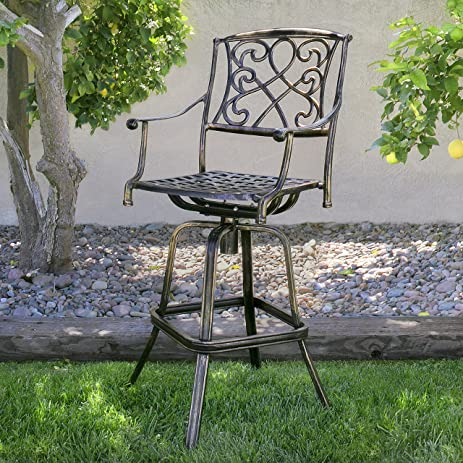 Best Choice Products Outdoor Cast Aluminum Swivel Bar stool Patio Furniture Antique Copper Design & Amazon.com: Best Choice Products Outdoor Cast Aluminum Swivel Bar ... islam-shia.org