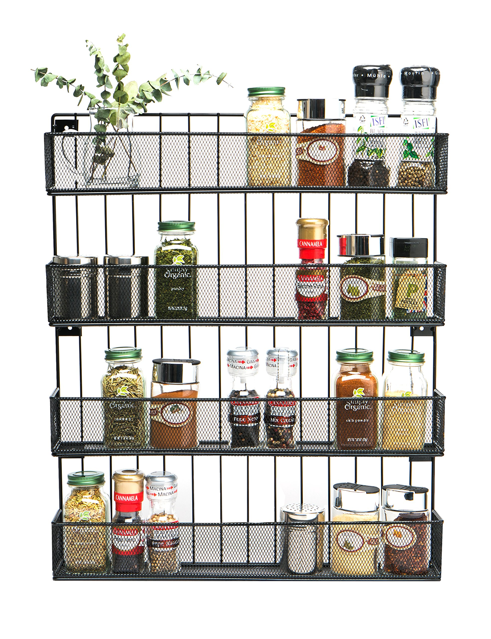 JackCubeDesign Wall Mount Spice Rack 4 tier Kitchen Countertop Worktop Display Organizer Spice Bottles Holder Stand Shelves(17.6 x 2.8 x 20.8 inches) - :MK418A by JackCubeDesign