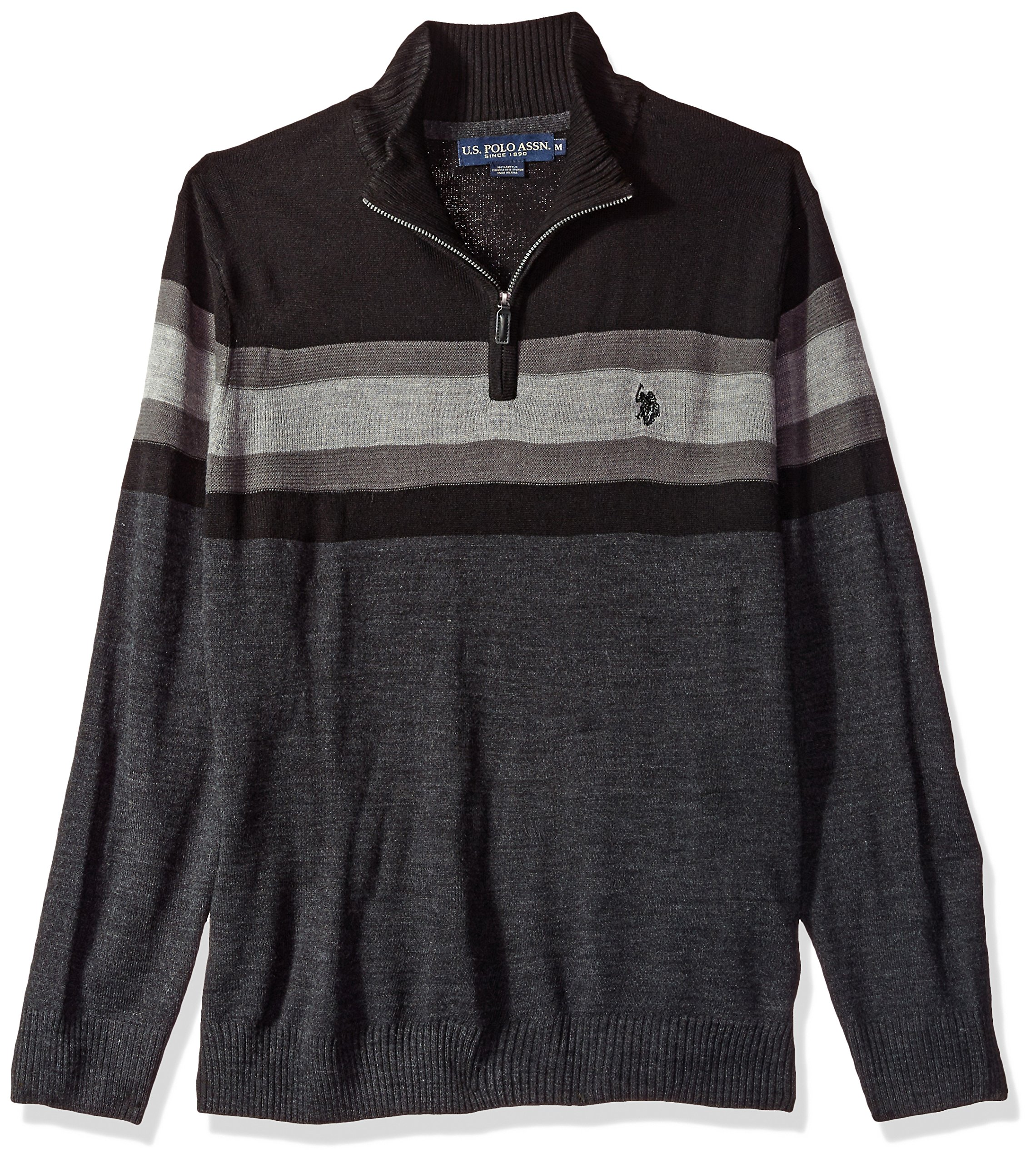 U.S. Polo Assn. Men's Acrylic Chest Stripe 1/4 Zip Sweater, Charcoal Heather, XX-Large by U.S. Polo Assn.