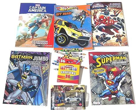 Christmas Hot Wheels Coloring Book Set Includes Superman Metropolis And Batman