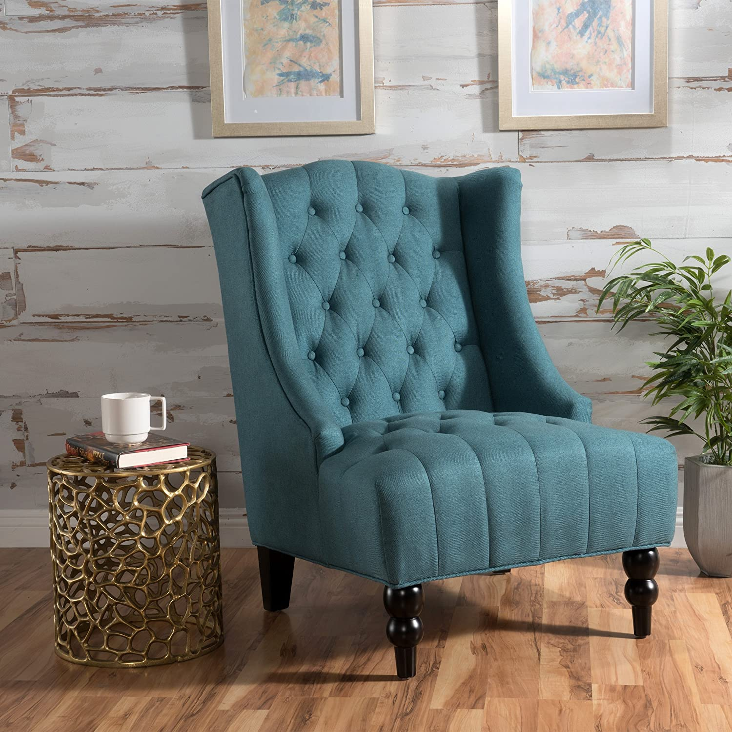 Amazon com clarice tall wingback tufted fabric accent chair vintage club seat for living room dark teal kitchen dining