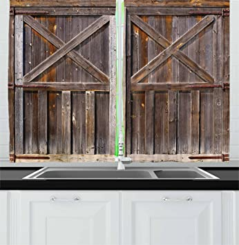 Ambesonne Rustic Kitchen Curtains, Old Wooden Barn Door of Farmhouse Oak  Countryside Village Board Rural Life Photo Print, Window Drapes 2 Panel Set  ...