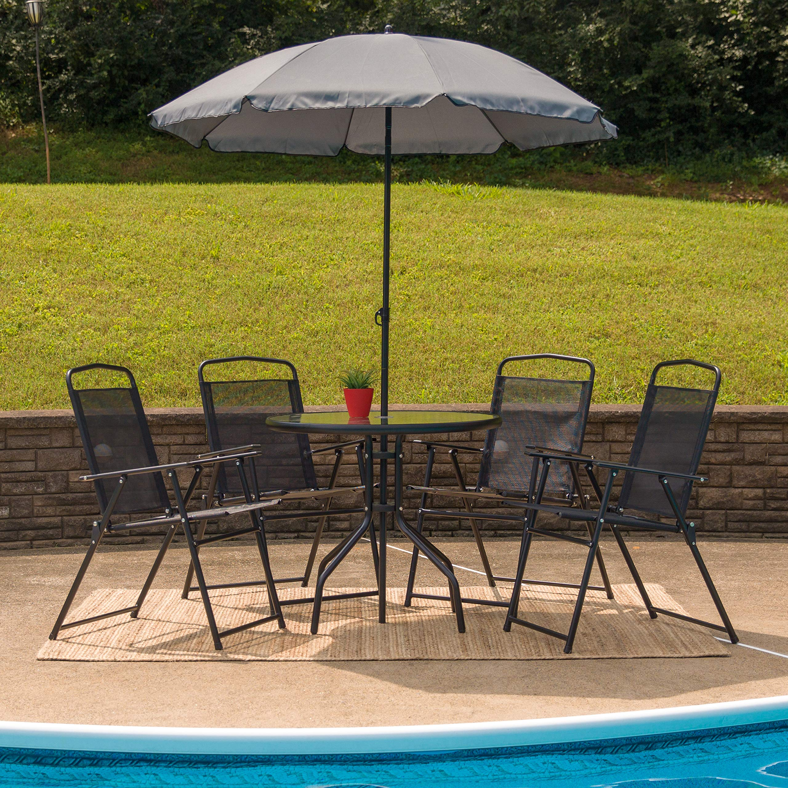 Flash Furniture Nantucket 6 Piece Patio Garden Set with Table, Umbrella and 4 Folding Chairs by Flash Furniture (Image #6)