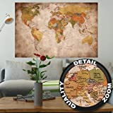 Affiche vue usage - Décoration murale carte géographie mondiale atlas continental map d une ecole ancienne | mur deco Poster mural Image by GREAT ART (140 x 100 cm)