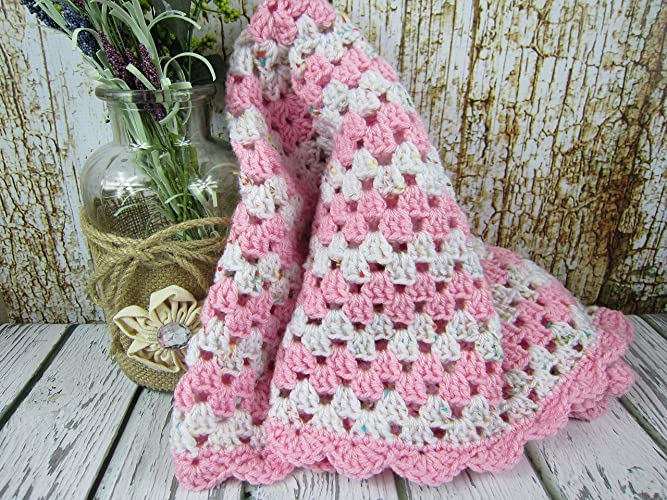 5d3a51fd37a4e Amazon.com: Crochet Baby Blanket, Pink and White Baby Afghan, Baby ...