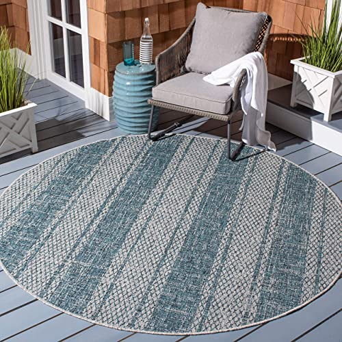 Safavieh Courtyard Collection CY8736-37212 Indoor Outdoor Area Rug, 5 3 Round, Light Grey Teal