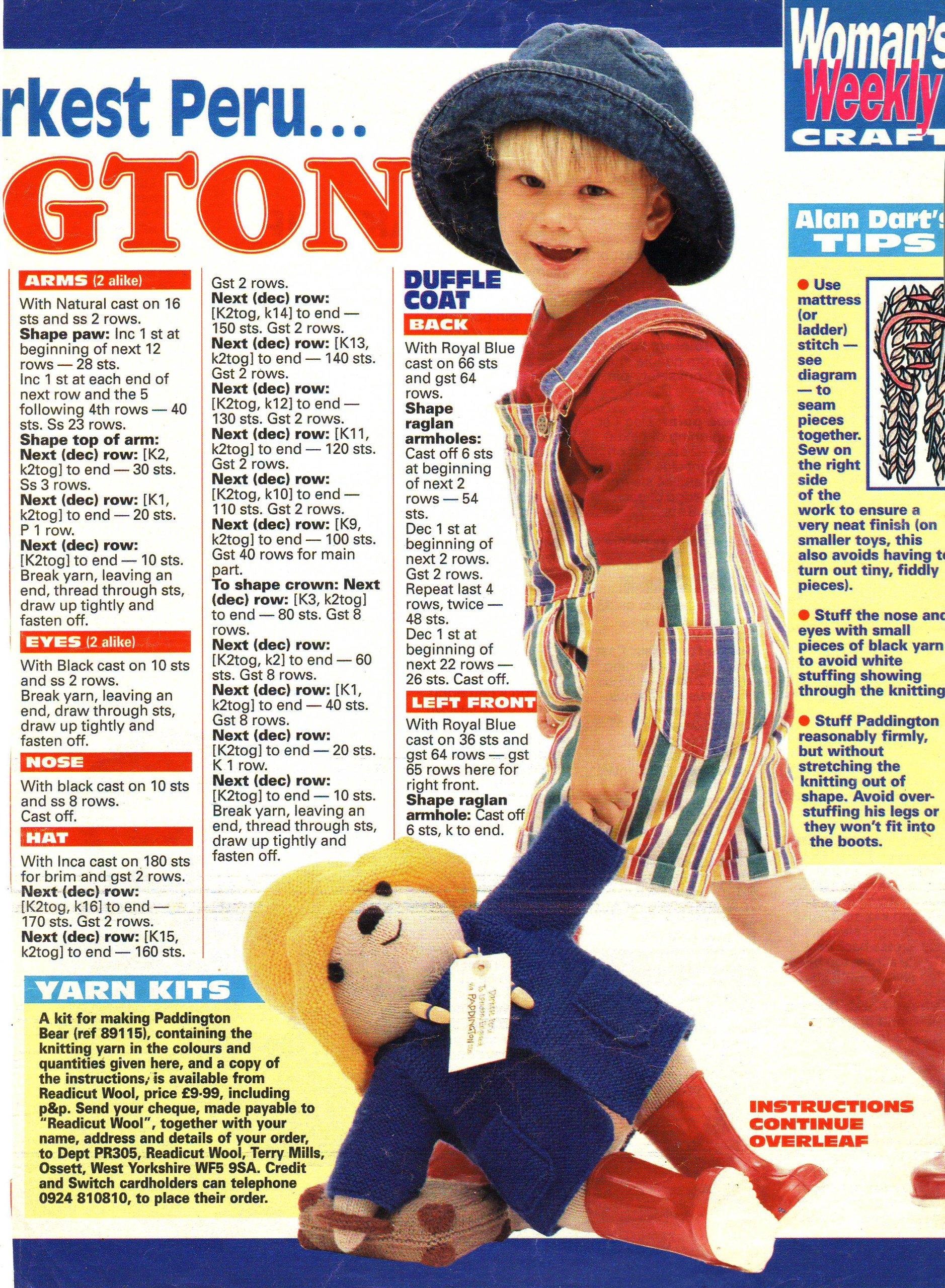 Paddington Bear Toy by Alan Dart Knitting Pattern Measurement