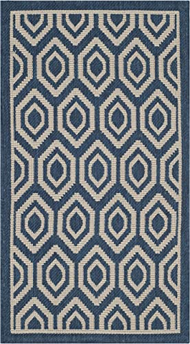 Safavieh Courtyard Collection CY6902-268 Navy and Beige Indoor Outdoor Area Rug 2 x 3 7