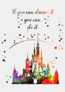 Disney Castle Watercolor Print Princess Fairytsle Disneyland Castle Pink Poster Artwork Wall Art Home Decor Wall Hanging